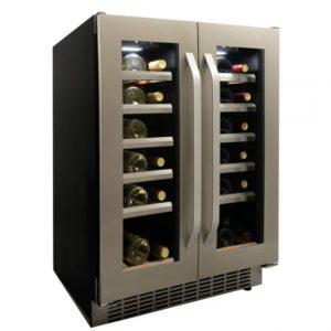 Danby 40 Bottle French Door Freestanding, Dual Zone Wine Cooler in Stainless Steel