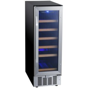 12 Inch Wide 18 Bottle Built-In Single Zone Wine Cooler with Reversible Door and LED Lighting